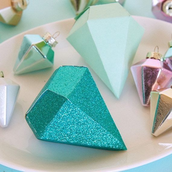 To make any gift or gift card shine, use this printable template to fold up a DIY diamond-shaped box.