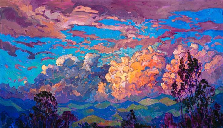 Break of Clouds - Contemporary Impressionism   Landscape Oil Paintings for Sale by Erin Hanson