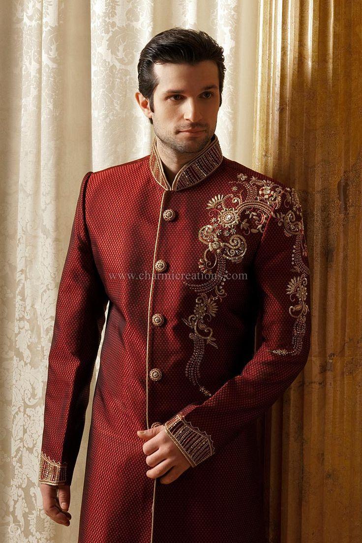 red ellegant  wedding sherwani punjabi wedding suit