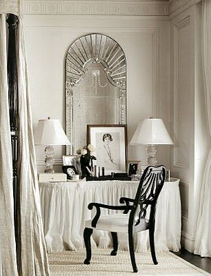 Dress up the dressing table with a nice mirror, lamp and chair.  Would be elegant in my art deco master...