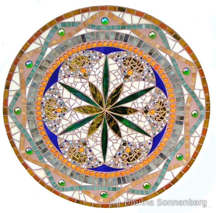 Glass mosaic mandala Pompeii mirror