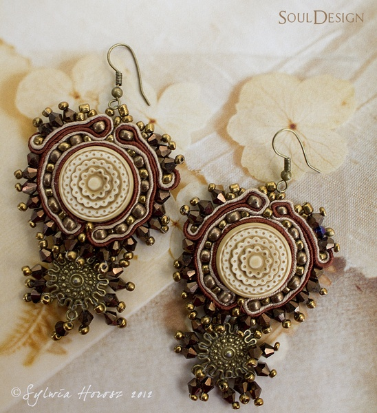 Unique, artistic soutache earrings. The only one copy.    Jewelry soutache parts was impregnated to protect from stains, spills, dust, air humidity.