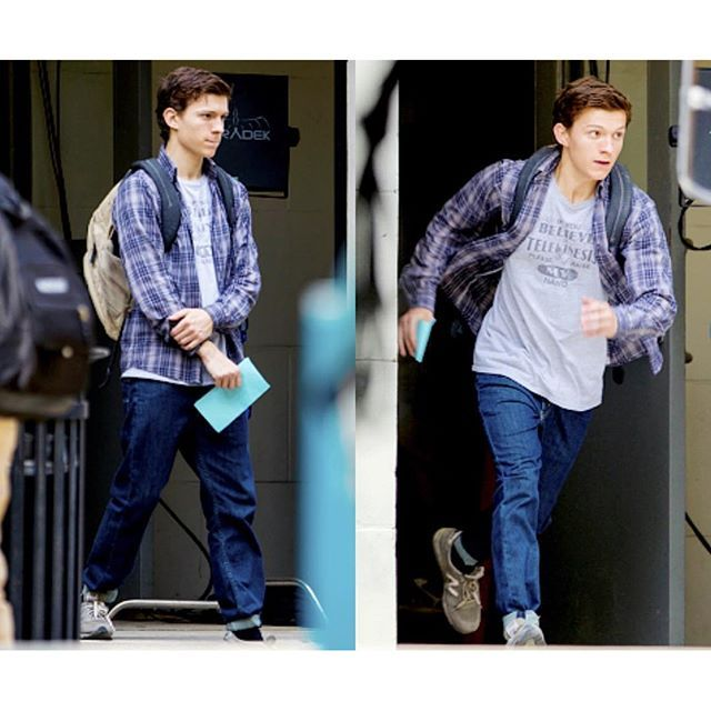 Spider-Man: Homecoming Set Photos. Tom Holland.
