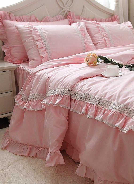 Princess Pink Lace Ruffle Cotton Bedding Sets Luxury By
