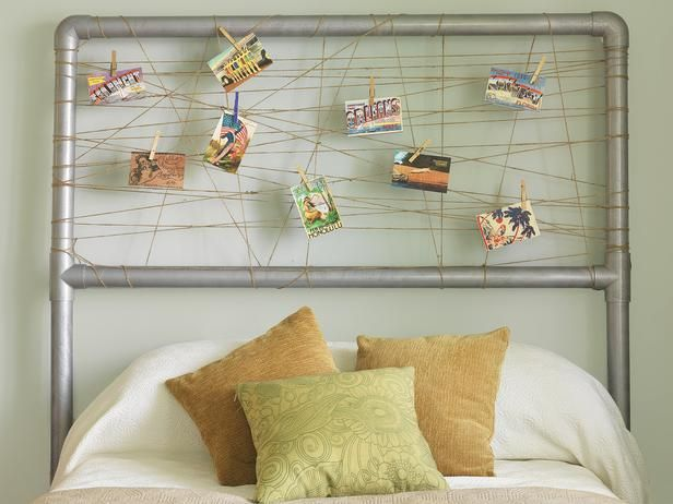 Designer MacGyver: 5 Pretty Postcard Ideas to Try (http://blog.hgtv.com/design/2014/07/07/postcard-ideas/?soc=pinterest)Vintage Postcards, Pipe Headboards, Headboards Ideas, Diy Headboards, Pvc Pipes, Photos Headboards, Boys Room, Headboards Projects, Home Improvements