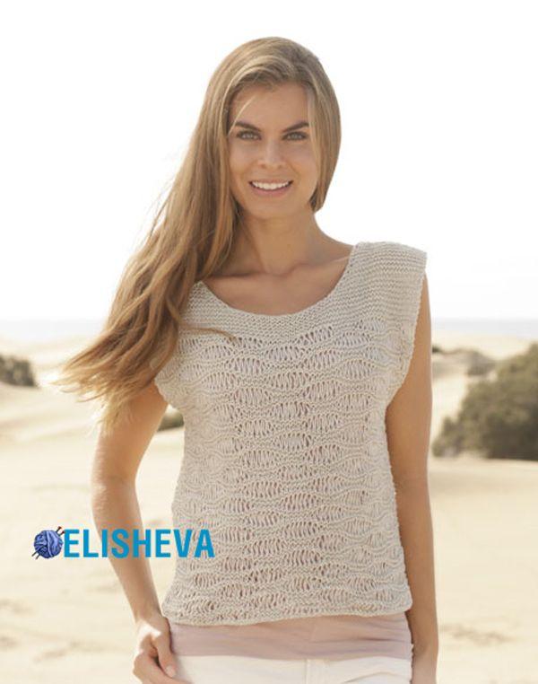 Красивый женский топ от Drops Design вязаный спицами | Блог elisheva.ru