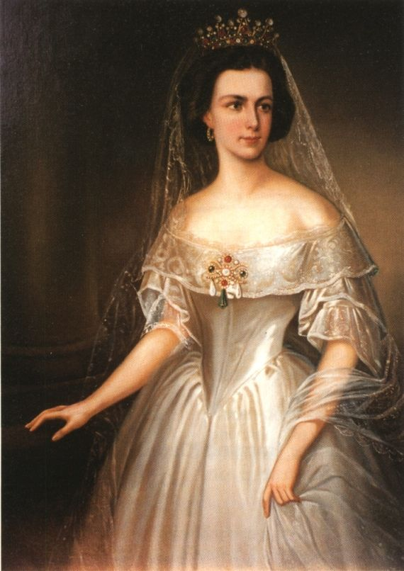 1854 Sissi in court gown  This 1854 portrait shows lace engageantes and a lace bertha on an otherwise plain satin dress.