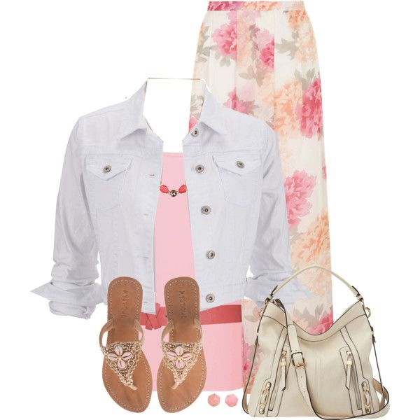 """""""White Denim Jacket & Floral Maxi Skirt"""" by daiscat on Polyvore"""