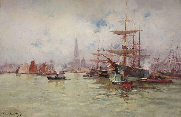 Iates e rebocadores no porto de Antuérpia. 1903. Eugène Galien-Laloue (Paris, França, 1854 – 1941, Chérence, França).