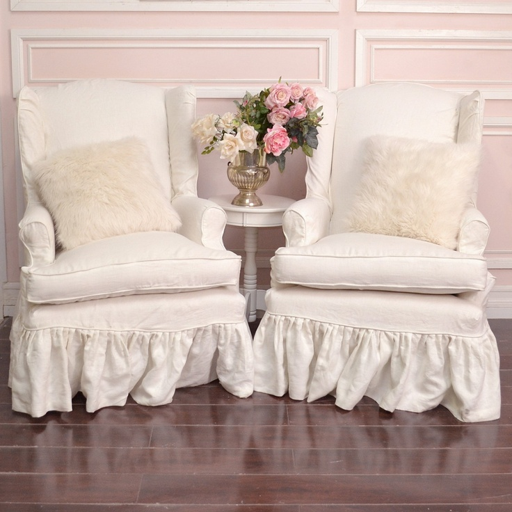 Pair of white linen slipcovered wingback chairs i love these chairs
