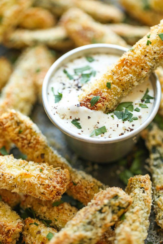 Baked Zucchini Fries - These fries are amazingly crisp-tender and healthy with just 135.4 calories. And no one would ever believe that these are baked!