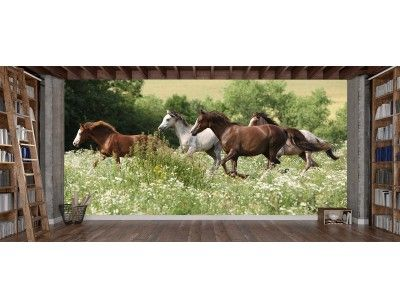 """Herd of Running Horses"". A wall mural from Muralunique.com. https://www.muralunique.com/herd-of-running-horses-16-5-x-8-5-03m-x-2-44m.html"