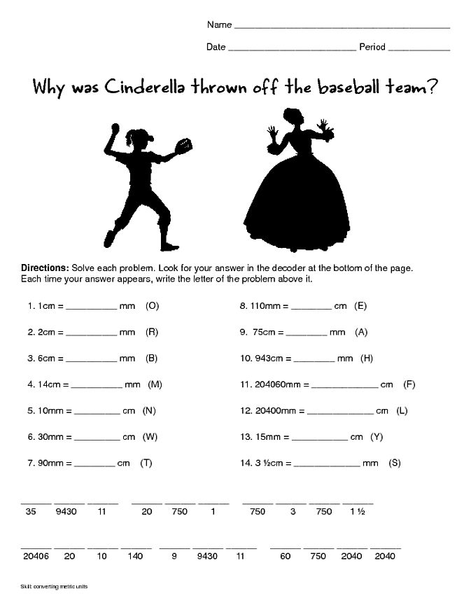 Hilarious worksheet for students to practice metric conversions.
