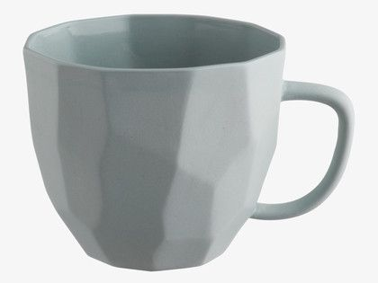 DEACON Stoneware Faceted matt blue stoneware mug - HabitatUK