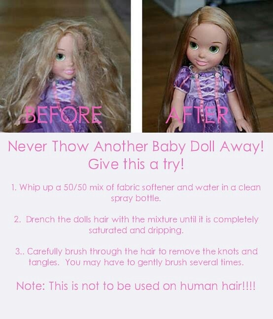"How to fix doll hair. I just did this and it actually works. Avery loved doing it too. Now we have a bottle if ""doll shampoo""!"