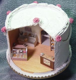 Miniature bake shop (or birthday party scene, etc) by Laura M from Tucson, posted on Little Roomers blogspot.