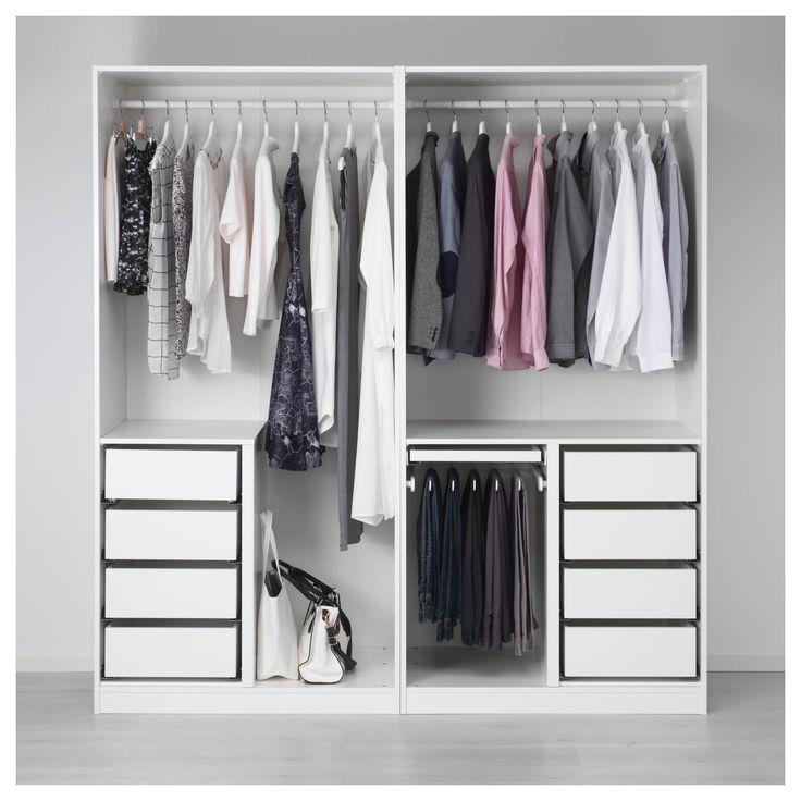 Ikea Pax Weiss Fjellhamar Dark Bamboo Wardrobe Bedroom Decor
