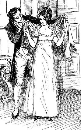 An illustration of Henry Crawford helping Fanny Price into her shawl from the 1895 edition of Mansfield Park.