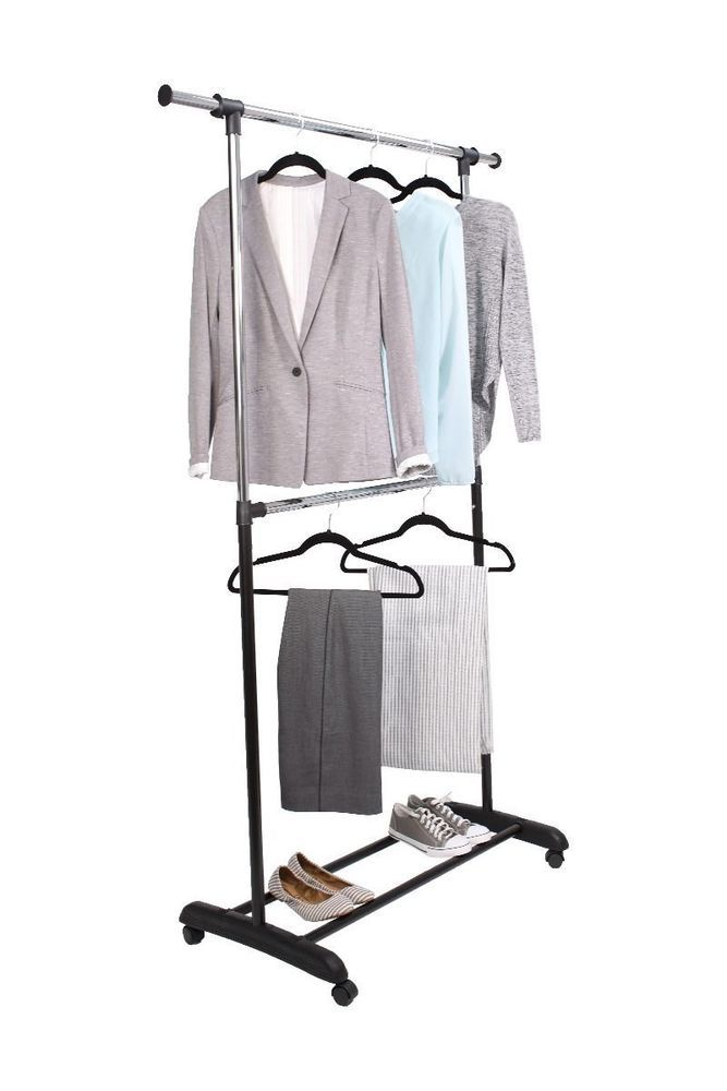 Tidy Living - Adjustable 2-Tier Rolling Garment Rack - Double Clothes Hanger #TidyLiving