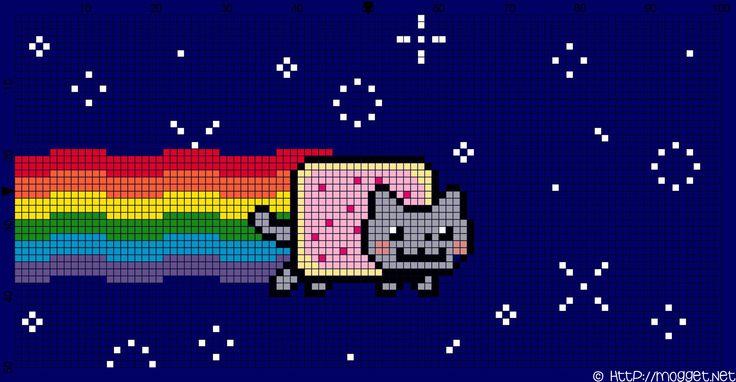 Nyan Cat in space cross stitch