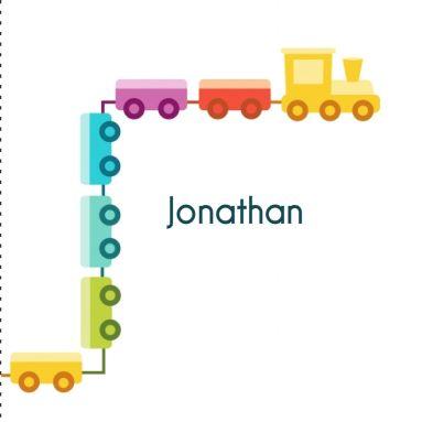 Vrolijk geboortekaartje met een trein met wagonnetjes. Voor een jongen of meisje. Figuren, kleuren en teksten aan te passen.