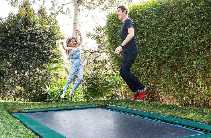 """The trampoline, where David and Liz resolve any arguments, is a guaranteed crowd-pleaser. """"Trampoline sounds like an age thing, but it's not age specific,"""" laughs David. """"We've had Jeanne Tripplehorn jumping up and down on it refusing to sit down to dinner."""""""
