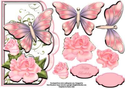 Beautiful Butterfly Edgy on Craftsuprint designed by Kim Blundred - This sheet has a shaped topper, decoupage layers and sentiment panels. It is designed for use with an 8x8 card blank to create a shaped edge card. This one has butterflies