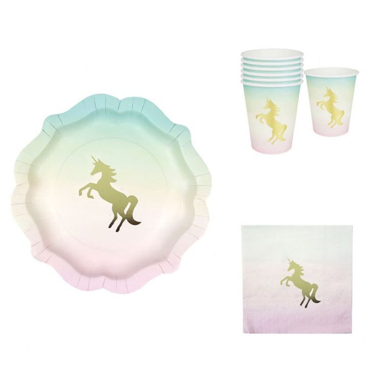 Create a Magical party with this beautiful Unicorn party set Each set consists of 12x Unicorn Paper plates with a lovely ombre effect and delightful