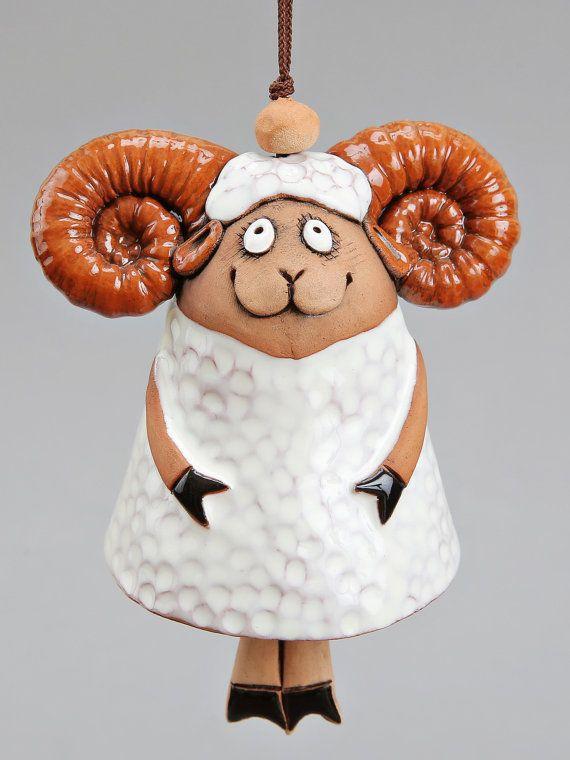 Ceramic Ram Bell The White Ram Kids toy School by Molinukas, €6.00