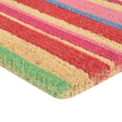 "HomeTrax Coir Mat Doormat - Stripes (18"" x 30""),"