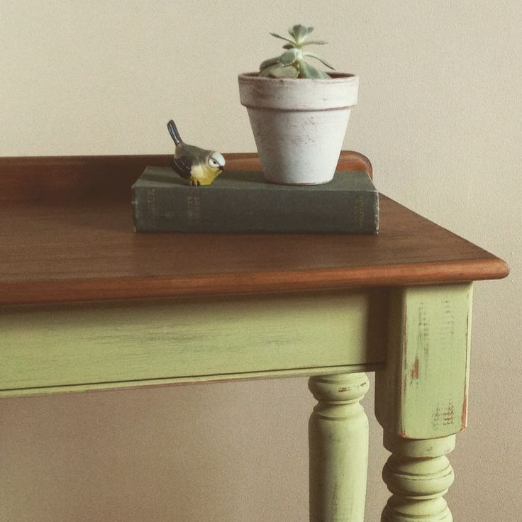 Vintage hall table / console table painted by Speckled Home using Miss Mustard Seed Milk Paint - Luckett's green.