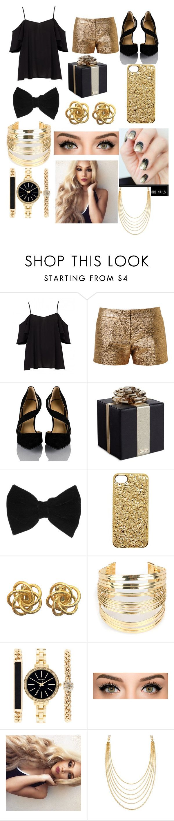 """""""Black and gold"""" by tony-romo-rocks ❤ liked on Polyvore featuring Lanvin, Kate Spade, claire's, Marc by Marc Jacobs, WithChic, Style & Co. and White House Black Market"""