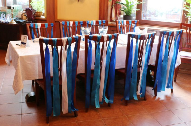 Синяя свадьба. Украшение зала. Украшение столов гостей