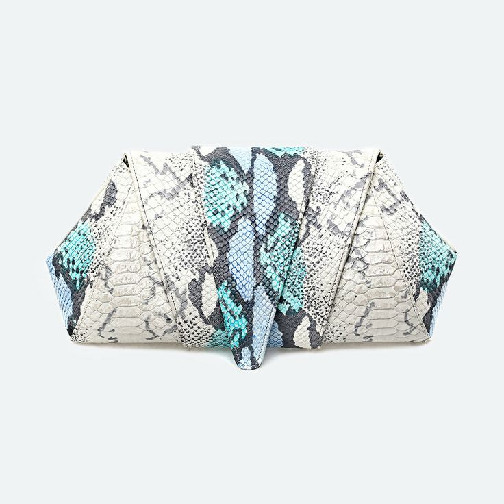 Python leather clutch in Tosca and Blue Tones