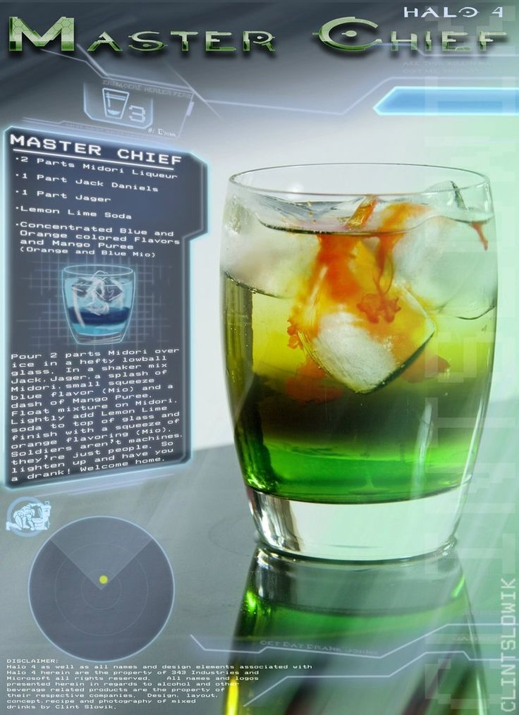 Master Chief (Halo cocktail)  Ingredients:2 parts Midori1 part Jack Daniels1 part JagerLemon Lime sodaOrange Mio Liquid Water EnhancerBlue MioLiquid Water EnhancerMango Puree