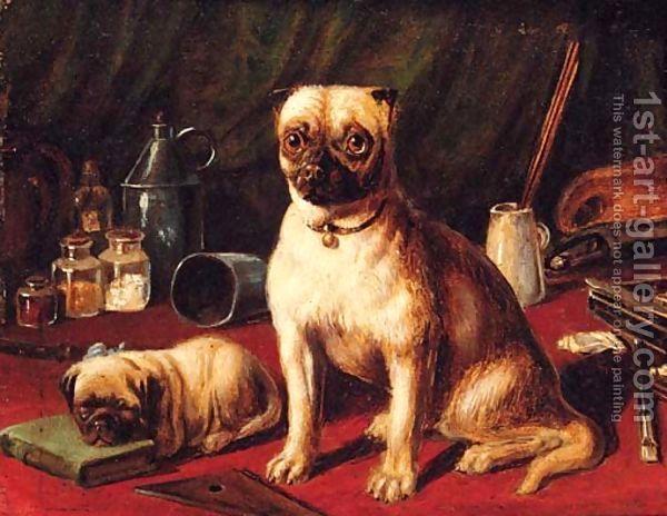 Pugs in an Interior;  English school