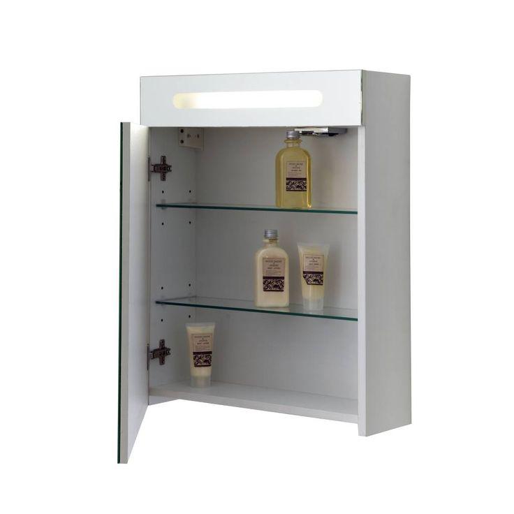 Toiletkast Soprano van het topkwaliteit merk Allibert met 1 spiegeldeur en 2 glazen legplanken inclusief bevestigingsmaterialen en handleiding.