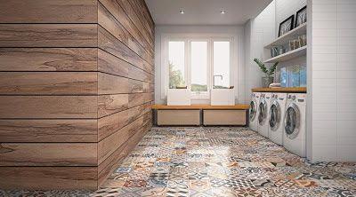 Para pisos internos o porcelanato esmaltado Essence Decor - 60x60cm, parece ladrilho hidráulico. Na parede, porcelanato Peroba - 1,20x1,20m - Ambos da Eliane.