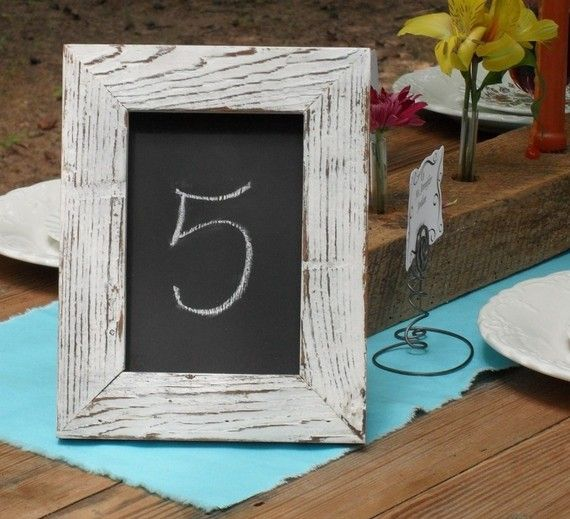 Chalkboard Sign Table Number. For shower, write important dates on each board for each table. Ex; first, date , kiss, proposal, etc.