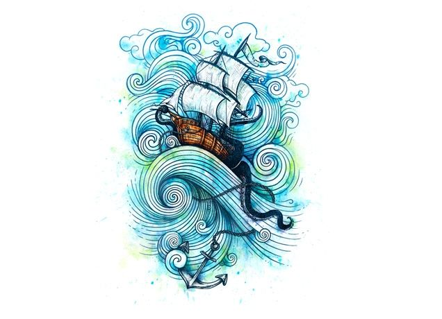 ShipTattoo Drawings, Single Dika, Threadless Com, Threadless Tees, The Wave, Cool Ideas, Long Journey, T Shirts Design