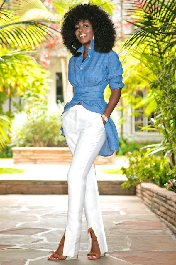 Style Pantry | Tie Waist Denim Shirt + Front Slit Pants