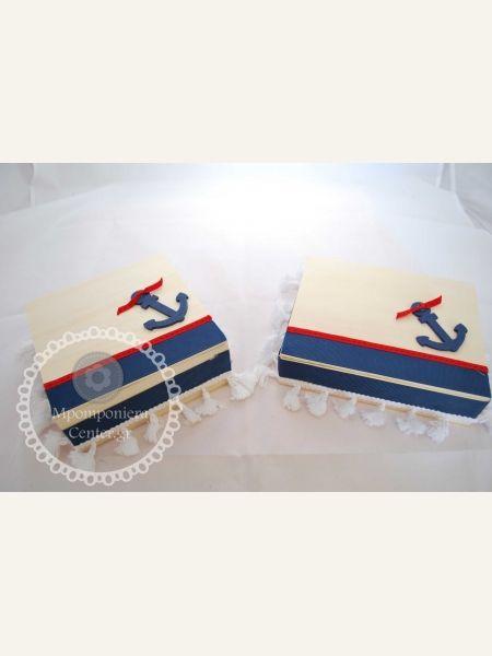 Κουτί μαρτυρικών χειροποίητο με θαλασσινό θέμα & άγκυρα σε blue navy