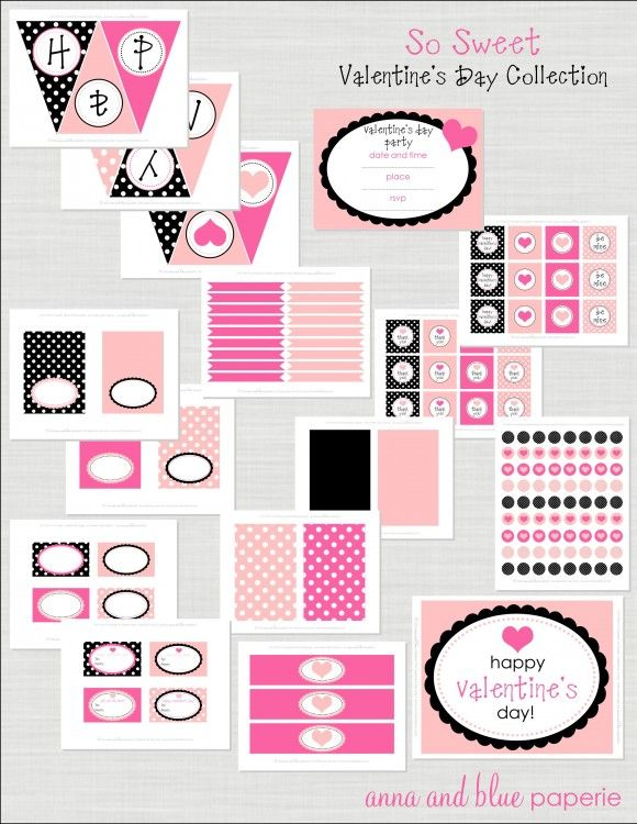 FREE Valentine's Day printable party pack: light pink, hot pink and black  {many items are general and could be used for other party themes!}: Valentine'S Day, Free Valentine'S, Free Valentines, Parties Printable, Valentines Day Parties, Party Printables, Valentine'S S, Free Printable, Valentines Day Party