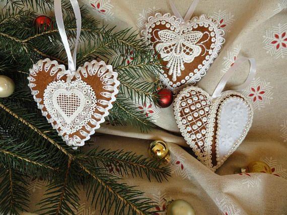 RESERVED FOR MARYLANGDON Set of 3 felt gingerbread hearts for