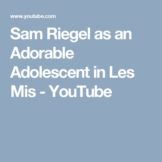 Sam Riegel as an Adorable Adolescent in Les Mis - YouTube