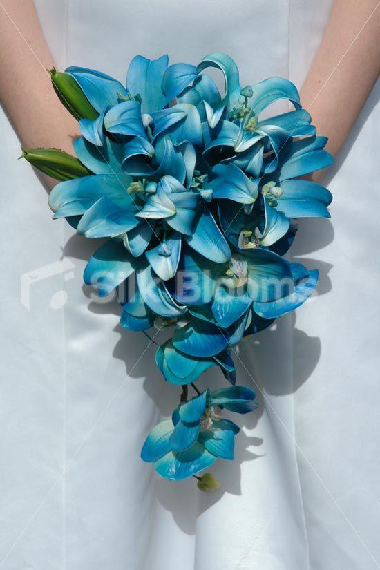 Jade Galaxy Blue Orchid Stargazer Lily Small Bridal Bouquet Bridesmaids Jade Green Galaxy Blue Orchid Stargazer Lily Bouquet [Jade - Bride (2)] - £64.99 : Silk Blooms UK
