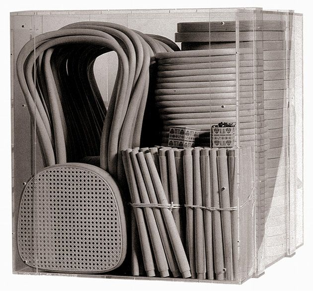 214 chair (Thonet) is the most successful industrial product in the world, and it was the first flat-pack chair - 36 chairs could have been packed in a 1-cubic-meter.