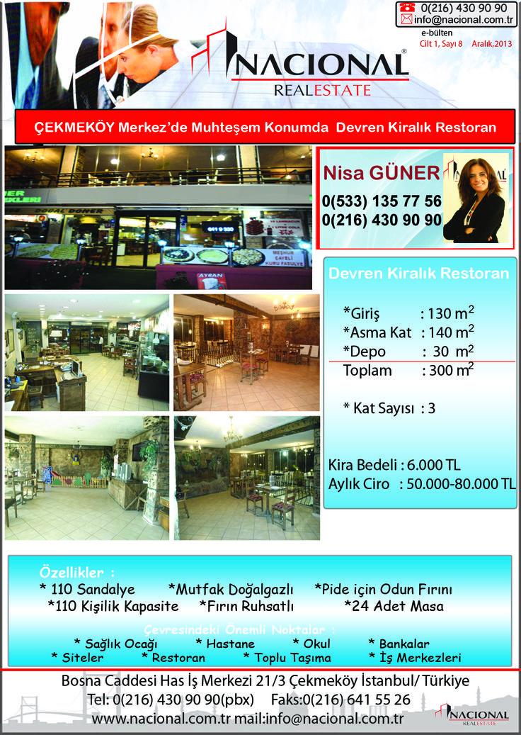 Çekmeköy'de Restorant/fırın Yatırımı İçin Fırsat!!!