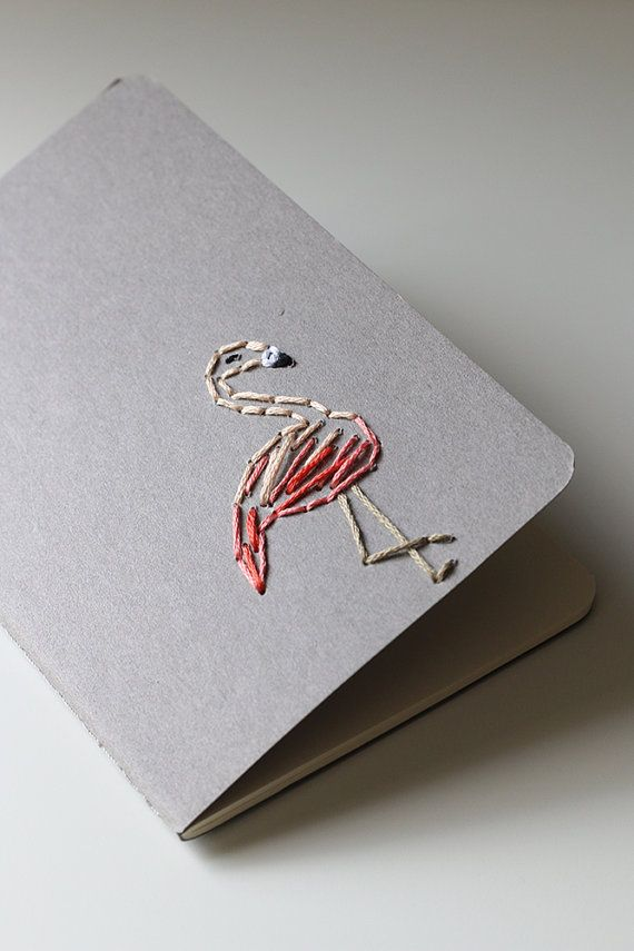Flamingo hand embroidered moleskine pocket notebook