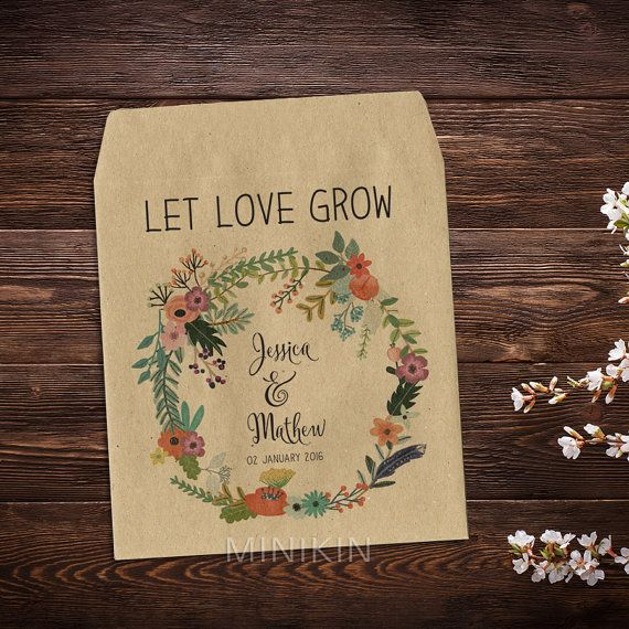 25 x Wedding Seed Packets Favor Bags Floral Kraft by MinikinGifts